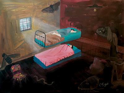SUeño halloween monsters sisters cream nightmare dream yearbook ilustracion diseño