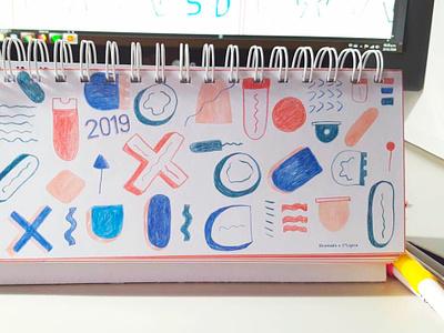 Calendar Typo 2 symbol signals typogaphy arte º calendario ilustracion 2019 diseño