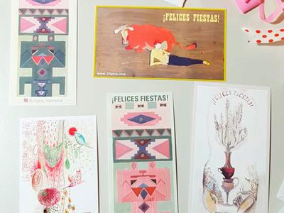 """Cards """"Felices Fiestas"""" holiday cards feliz navidad ilustracion diseño"""