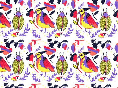 Pattern hellojopo flower bird spring pattern 2019 diseño