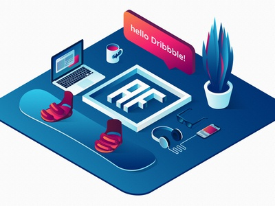 hello Dribbble! 3d debut shot graphic isometric flat logo vector design illustration debut