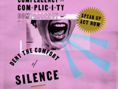 White Silence collage pink political social justice poster texture graphicdesign type lettering typography illustration style design