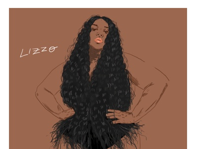 Lizzo empowerment design style musician portrait illustration