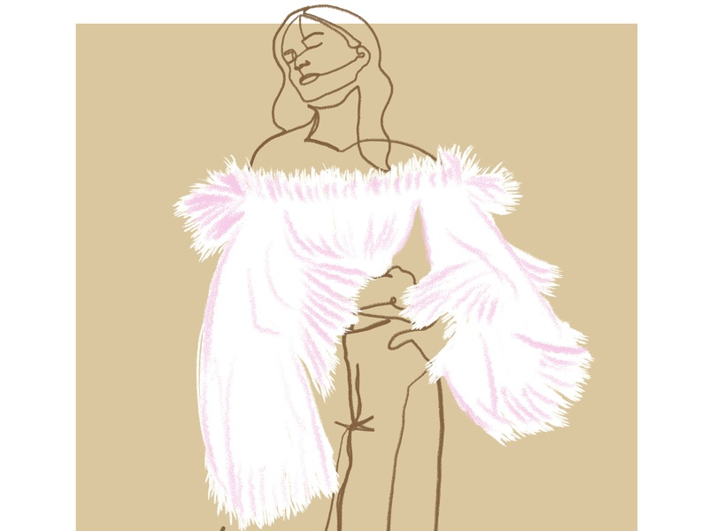 tulle study concept fashion fashion art hand drawn photoshop artist editorial style portrait continuous line illustration illustrator design