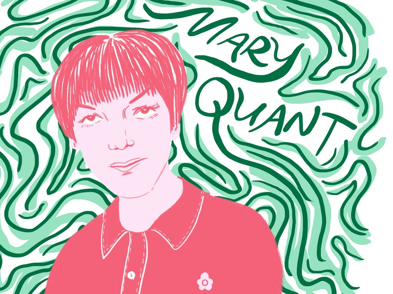 Mary Quant Portrait mary quant mod london fashion feminism editorial typography photoshop hand drawn illustration style portrait illustrator design