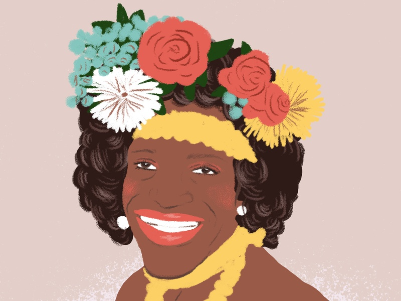 Marsha P. Johnson Portrait activism gay rights spot illustration floral flowers history pride illustrator design photoshop editorial portrait illustration