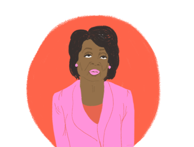 Maxine Waters political feminism hand drawn artist illustration empowerment style editorial illustrator portrait