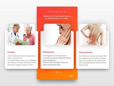 Mi Calcibon App uxdesign uidesign mobile app cards news orange slider welcome screen pharmaceutical healthy uiux app design ux ui