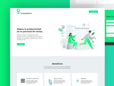 Landing Page for TrackingMove humans uiux app web design ux ui green move tracking landing
