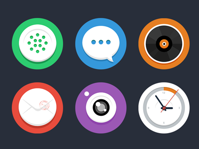theme theme clock flat shadow china ui icon mobile android app phone sms music email camera