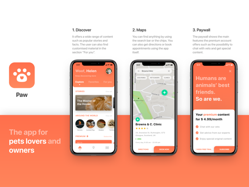 Paw - Designflows 2020 - Pets lovers and owners app