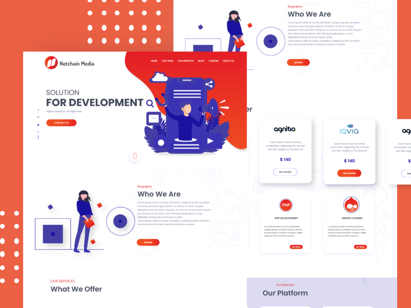 Web Development Company Landing Home Page uplabs adobe xd vector trendy website webdesign ui design typography agency layout interface creative clean illustration ux ui undraw home page web design landing page