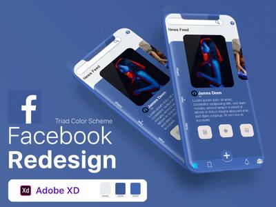 Facebook App Redesign typography portfolio youtube video ios app mobile app color scheme clean profile ux branding facebook redesign ui design