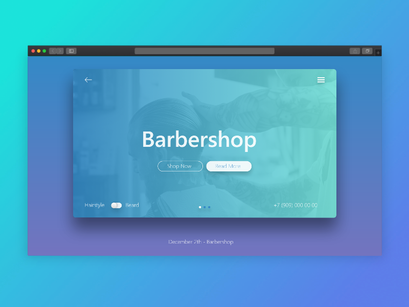 Barber Landing Page Design typography hero area ux clean flat fiverr branding design adobe xd service ui web saloon uiux uidesign landing page gradient hairstyle barbershop barber