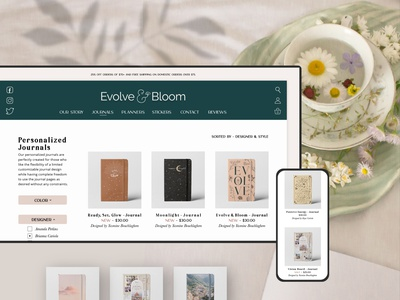 Evolve & Bloom - Personalized Digital Stationery selfcare productivity planners packaging mindfulness digital customization bullet journal branding