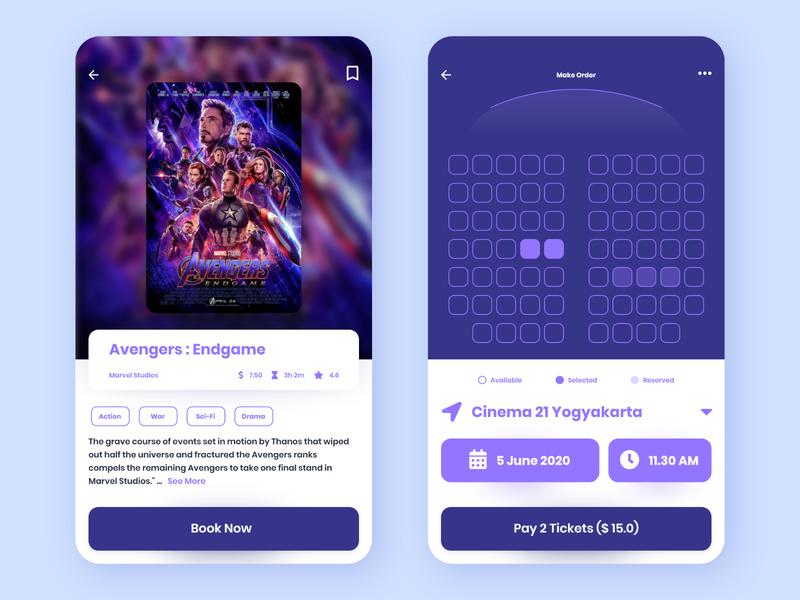 Movie Ticket Booking App design ux uiux ui seat ticket movie