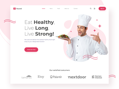 Healthy Food Catering Landing Page dinner lunch breakfast dish shopping cart cards faq testimonial cook chef pasta vegetable delivery ux design ui design red healthy food restaurant food landing page