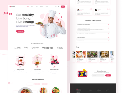 Vouwd Healthy Food Catering - Landing Page strong healthy cook simple clean red product delicious subscription how it works meal delivery catering food dinner lunch chef breakfast