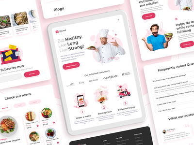 Vouwd - Healthy Catering for Tablet / iPad diet catalogue mockup clean responsive landing page tablet ipad delivery catering healthy meal dinner lunch