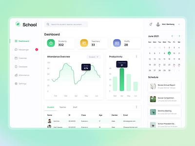 School Admin - Dashboard modern schedule tab management organize clean charts attendance statistics dashboard calendar task admin gradient green school ux design ui design web design website