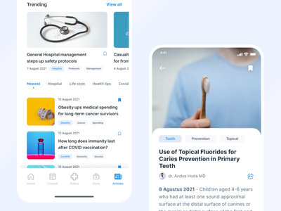 Medical Consultation App - Articles ui mobile editorial magazine covid medicine heal overlap trend news doctor sick health search browse consultation read article hospital medical