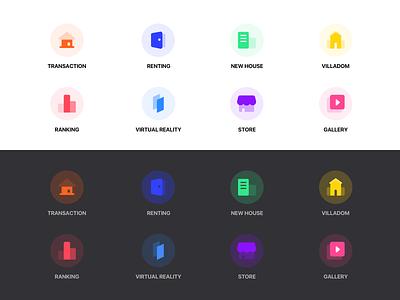 icons colorful video ranking new house renting transaction store vr light mode dark mode icon set ue ui logo design