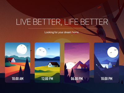 Looking for your dream home night sunset noon morning time sun branding design 插图 海报 logo