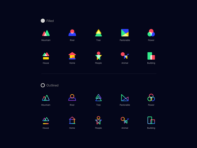 Minimal icons river mountain tree house illustration family world gradient color minimal art outline filled iconography home colorful sketch icon branding ui design logo