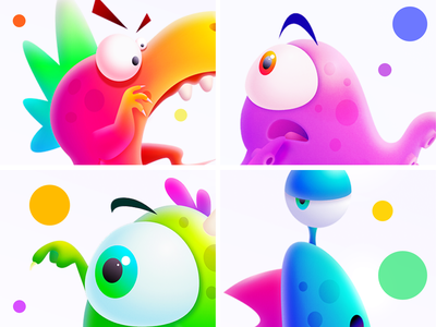kwai Family colorful monster cartoon character eyes octopus