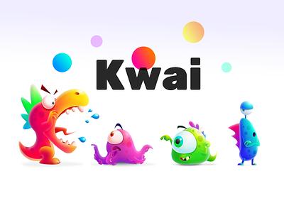 Kwai family 品牌化 3d kwai monster 设计 海报 插图 wallpaper poster video
