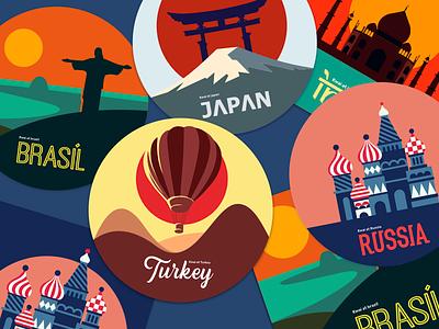Sticker country 墙纸 商标 海报 插图 设计