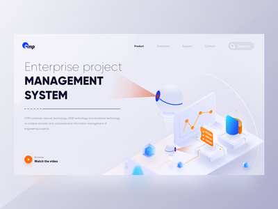Project management system introduction page 2.5d ux 卷筒纸 应用 品牌 向量 动画 ae 设计 插图 ui