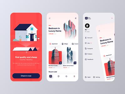 Rental app concept business app mapping mobile map rental app rental 卷筒纸 插图 ui