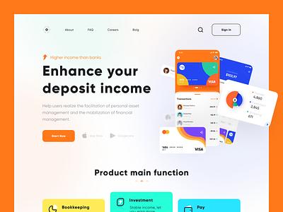 Financial App landing page landing page financial app vector typography 向量 logo branding design 插图 ui