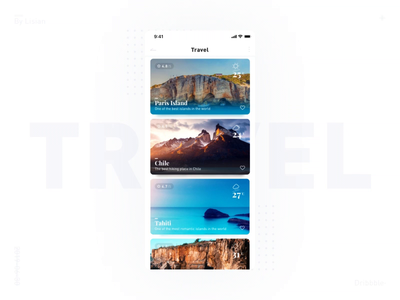 Travel page interactive animation display