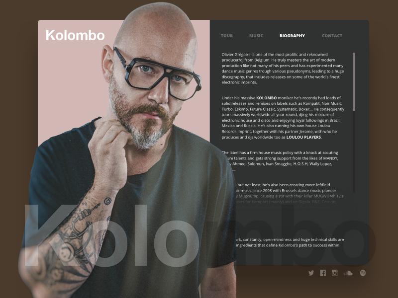Proposal biography page for DJ Kolombo dj wip proposal kolombo
