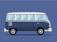 Volkswagen for camping illustration wip