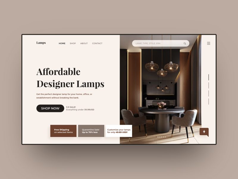 Lamps Shop Landing elegant ecommerce modern website house furniture lamps shopify shop clean business ux ui