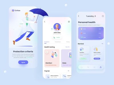 Covid-19 gradient page web app illustration ui