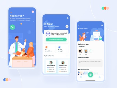 Page design iteration of PAV pet app mobile app branding illustration ui