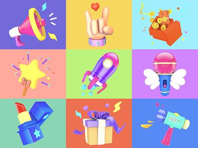Live gift 3 × 3 illustration app design branding