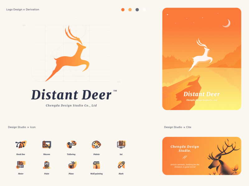 Deer Logo & Derivative logo illustration icon design