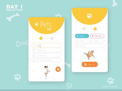 Sign-Up page design flat ux design illustration dailyui dailyuichallenge login colorful design pets signup screen signup page mobile app