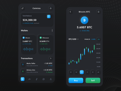 CoinIsta Neomorphism Cryptocurrency Wallet App banking finance product ux wallet dark mode dashboad app black dark skeumorphism neomorphism managment cryptocurrency crypto wallet crypto bitcoin logo website web
