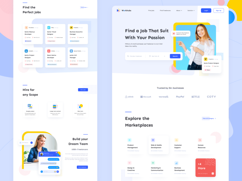 Workhubs - Homepage Web Design dashboard app ux marketing agency homepage job application product management hiring landingpage freelancers freelancer business management app design dashboad jobs app typography minimal web website