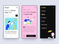 Bloglife News App product design reader reading menu managment profile neon magazine newspaper articles blog news web illustration minimal webdesign design website logo app