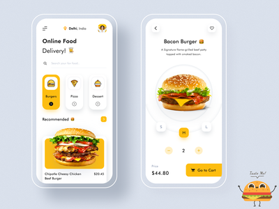 Foodie - Online Food Delivery App product design event login splash managment delivery app shopping ecommerce recipe burger add to cart cart drinks food app dashboad webdesign illustration web website