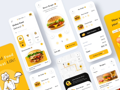 Foodie - Online Food Delivery App pizza drinks event login splash shopping cart page delivery app burger bag add to cart logo web website dashboad illustration shipping cart food app