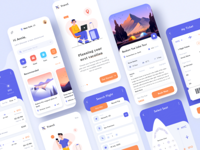 Travel App Concept train schedule event management adventure vacation dashboad logo web website booking app hotel booking food taxi travel flight illustration ticket boarding app