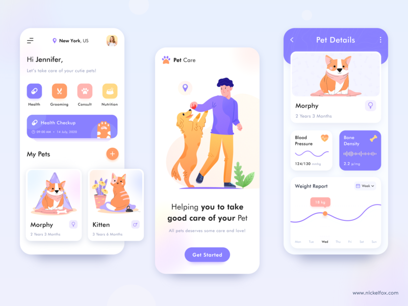 Pet Care App Concept gradients blur fitness app healthcare dashboard website web mobile app managment login splash nutrition food grooming consulting hospital pet care pet illustration app